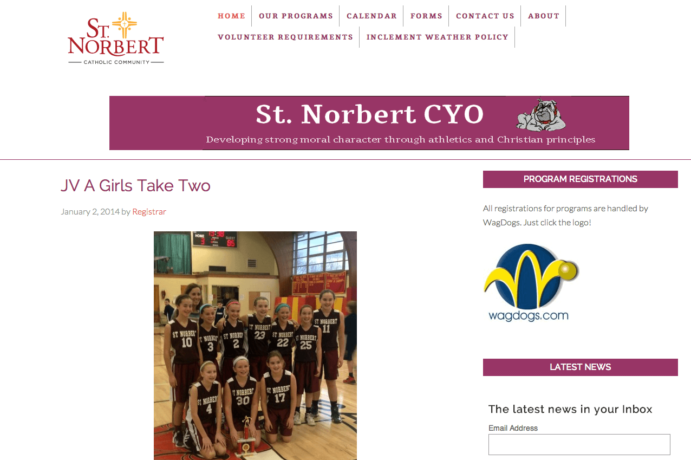 St Norbert CYO Website screenshot