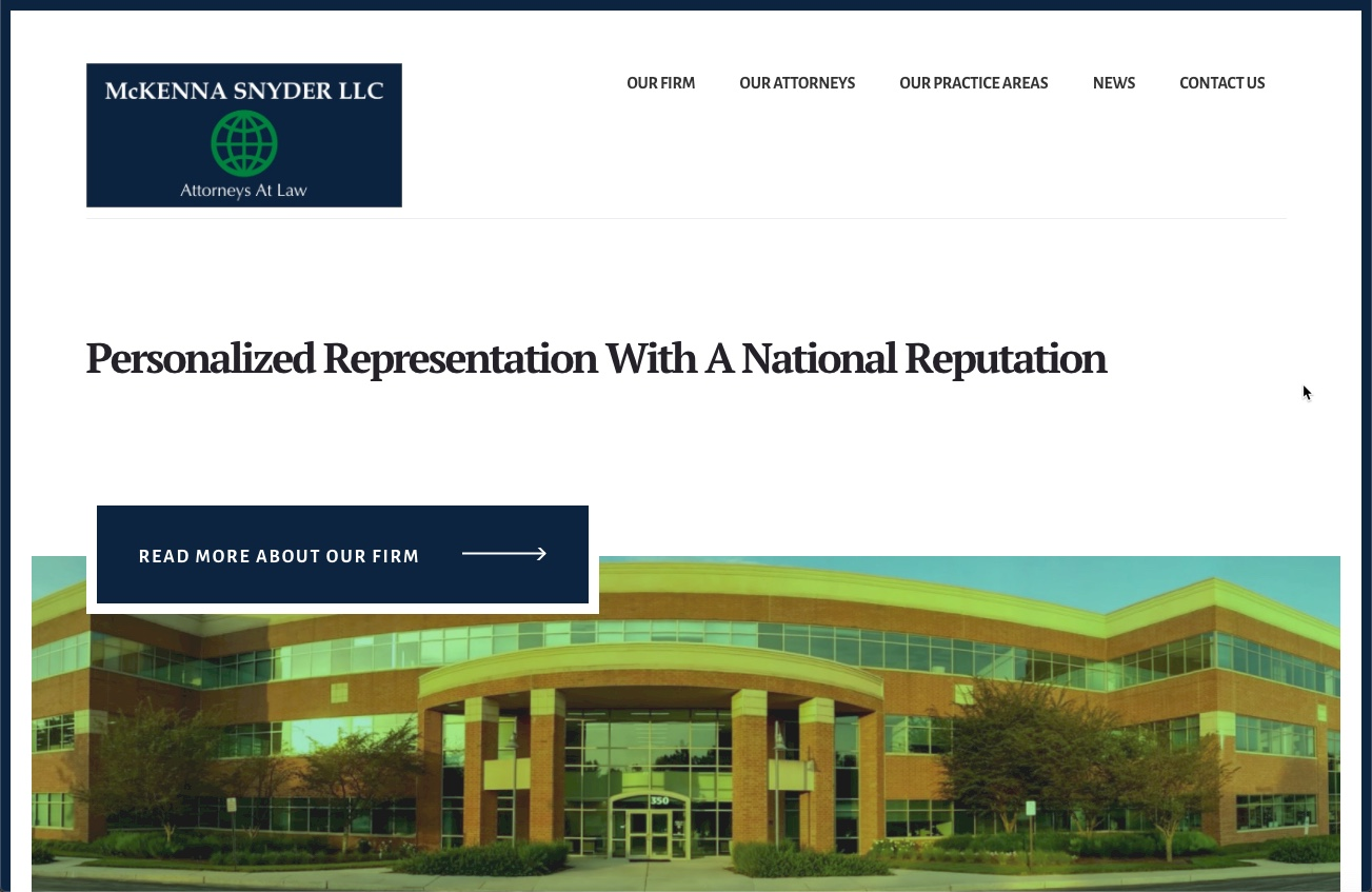 Image of the McKenna Snyder Law LLC website